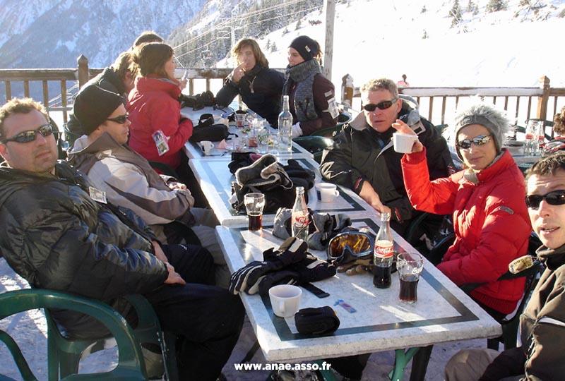 Repas au pied des pistes de ski