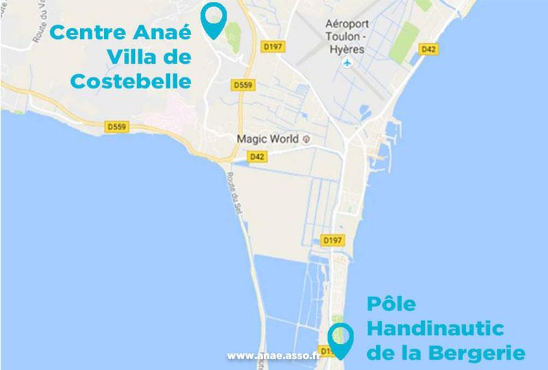 Plan du Pôle Handinautique de Hyères depuis le centre de vacances Anaé